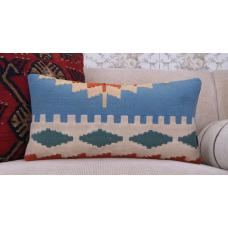 "Ethnic Tribal Blue Kilim Pillow 12x24"" Vintage Lumbar Rug Cushion Cover"
