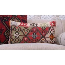 "Geometric Lumbar Kilim Cushion 12x24"" Colorful Sofa Decor Throw Pillow"