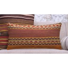 "Aztec Lumbar Kilim Pillowcase 12x24"" Vintage Handmade Rug Throw Pillow"