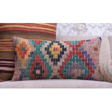 "Bohemian Colorful Kilim Cushion 12x24"" Eclectic Lumbar Rug Pillow Cover"