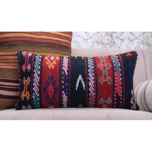 Boho Style Decor Throw Pillow Embroidered 12x24 Lumbar Kilim Pillowcase
