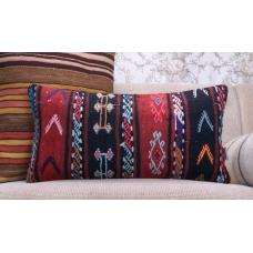"Embroidered Lumbar Kilim Pillow 12x24"" Gypsy Interior Decor Rug Cushion"