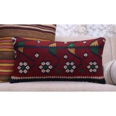 Floral Handmade Kilim Pillow Anatolian Tribal Lumbar Rug Cushion Cover