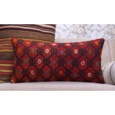 "Red Kilim Pillow Embroidered Anatolian Cushion 12x24"" Lumbar Rug Throw"