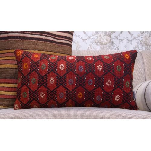 "Red Kilim Pillow Embroidered Anatolian Cushion 12x24"" Lumbar Rug Throw"