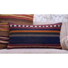 "Striped Lumbar Kilim Pillow 12x24"" Vintage Turkish Interior Decor Throw"