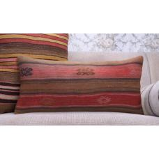 Vintage Lumbar Kilim Throw Pillow 12x24 Embroidered Antique Rug Cushion