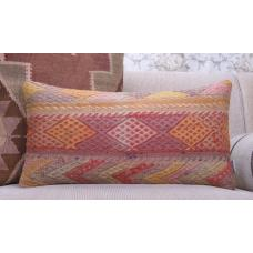 Anatolian Kilim Cushion Embroidered 12x24 Lumbar Turkish Rug Pillowcase