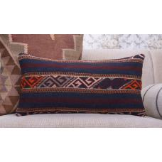 "Antique Tribal Kilim Pillowcase 12x24"" Anatolian Lumbar Cushion Cover"