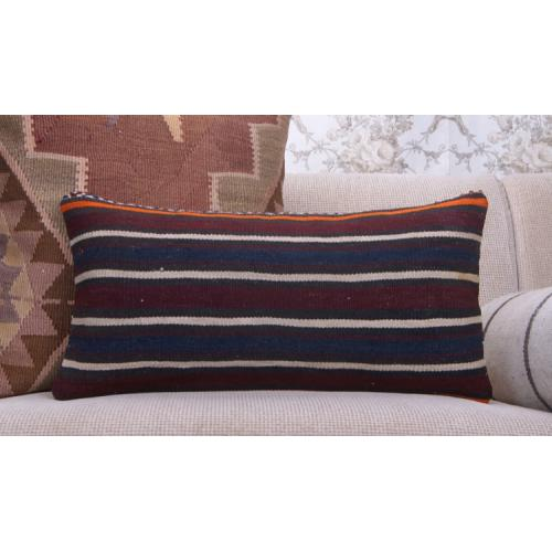 Vintage Kilim Pillow Striped 12x24 Lumbar Cushion Decorative Sofa Throw