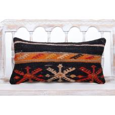 "Anatolian Cottage Lumbar Kilim Pillow 12x24"" Black Embroidered Cushion"