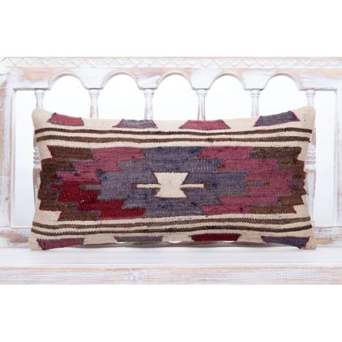 "Antique Shabby Lumbar Pillow 12x24"" Old Handmade Anatolian Kilim Throw"