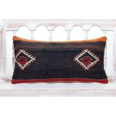 Black Antique Lumbar Kilim Pillow 12x24 Embroidered Cottage Decor Throw