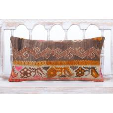 "Bohemian Lumbar Kilim Pillow 12x24"" Anatolian Rug Vintage Decor Throw"