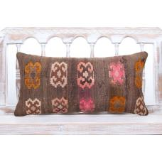 "Bohemian Vintage Lumbar Kilim Pillow 12x24"" Decorative Sofa Couch Throw"