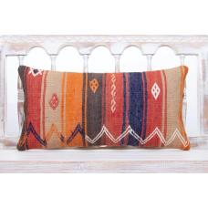 "Boho Cottage Lumbar Pillow 12x24"" Colorful Embroidered Kilim Cushion"