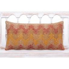Brown Embroidered Lumbar Kilim Cushion 12x24 Vintage Sofa Throw Pillow