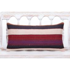 "Contemporary Interior Decor Lumbar Pillow 12x24"" Striped Kilim Cushion"
