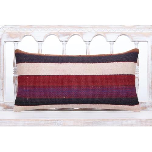 "Contemporary Interior Decor Lumbar Pillow 12x24"" Striped Kilim Cushion"