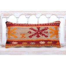 "Embroidered Cottage Decor Pillow 12x24"" Bohemian Lumbar Kilim Cushion"