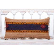 Ethnic Decorative Lumbar Pillow 12x24 Embroidered Turkish Kilim Cushion