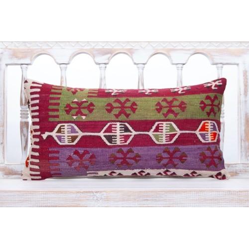 "Geometric Oriental Kilim Pillow 12x24"" Colorful Nomadic Lumbar Cushion"