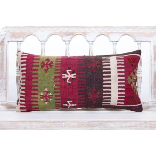 Oriental Lumbar Kilim Pillow 12x24 Geometric Vintage Home Decor Cushion