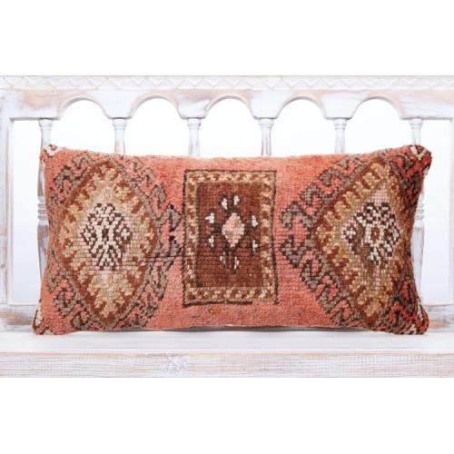 "Oriental Lumbar Turkish Rug Pillow 12x24"" Vintage Handmade Sofa Decor"