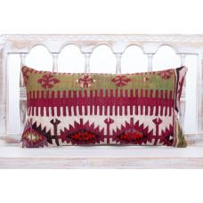"Oriental Turkish Lumbar Kilim Pillow 12x24"" Rustic Interior Decor Throw"