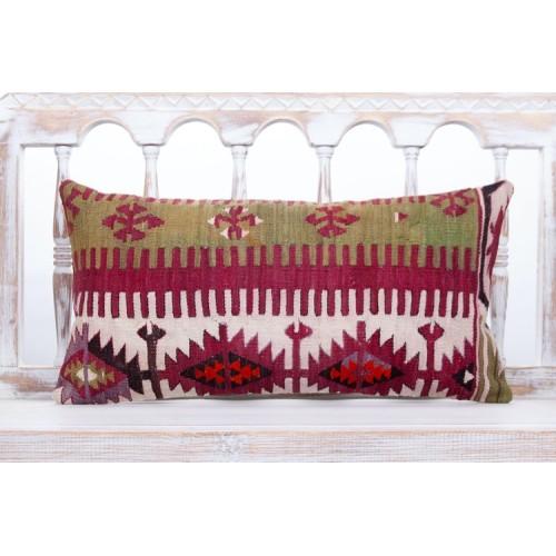 "Oriental Turkish Lumbar Kilim Pillow 12x24"" Rustic Interior Decor Throw"