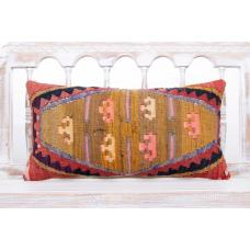 Oriental Turkish Lumbar Pillow 12x24 Retro Sofa Decor Kilim Cushion