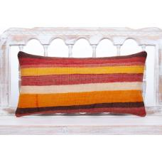 "Striped Colorful Kilim Pillowcase 12x14"" Lumbar Decorative Sofa Pillow"