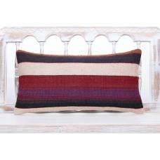 "Striped Contemporary Lumbar Pillow 12x24"" Decorative Kilim Sofa Throw"