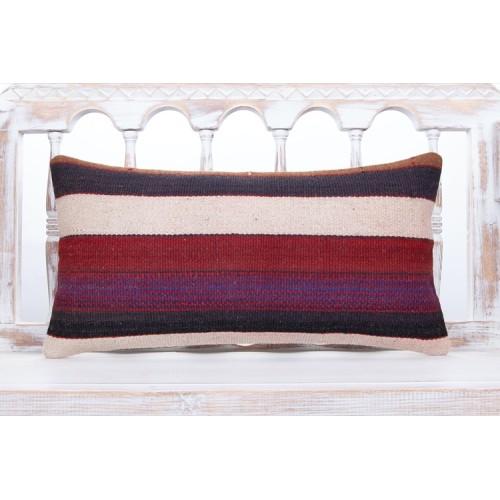"Striped Contemporary Lumbar Pillow 12x24"" Decorative Kilim Sofa Throw"