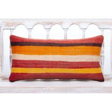 Striped Vintage Lumbar Sofa Pillow 12x24 Colorful Vintage Kilim Cushion