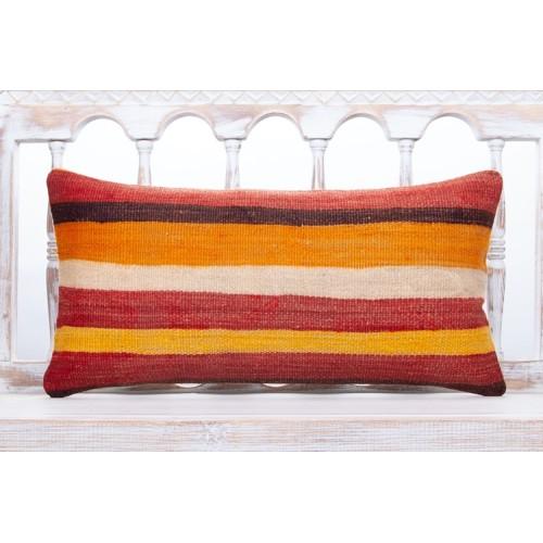 Striped Vintage Lumbar Sofa Pillow 12x24 Colorful Vintage Kilim Cushion