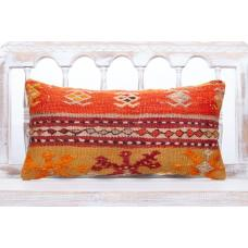 Vibrant Colorful Lumbar Kilim Pillow Embroidered Bohemian Sofa Throw