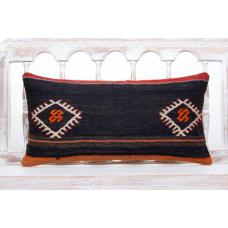"Vintage Black Lumbar Pillow 12x24"" Embroidered Anatolian Kilim Cushion"