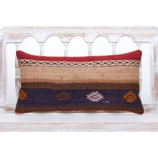 "Vintage Lumbar Kilim Pillow 12x24"" Embroidered Anatolian Sofa Throw"