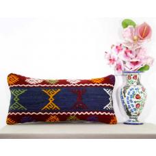 Shabby Cottage Chic Lumbar Pillow Turkish Embroidered Kilim Rug Cushion Throw