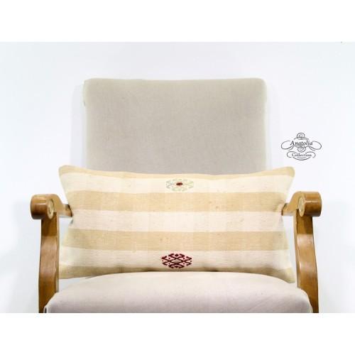 White Cottage Pillowcase Turkish Lumbar Kilim Rug Pillow Anatolian Cushion Cover