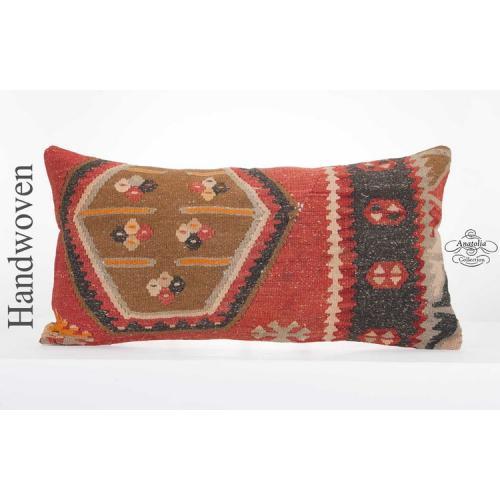 """1900's Geometric Vintage Kilim Pillowcase 14x28"""" Lumbar Pillow Rug Cushion Cover"""