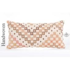 """Anatolian Cottage Lumbar Kilim Pillow 14x28"""" Long Lumbar Rug Cushion"""
