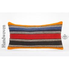 Colorful Striped Kilim Pillow 14x28 Ethnic Sofa Couch Outdoor Back Throw Cushion