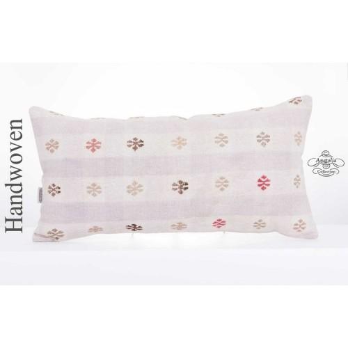 "Cottage Chic Embroidered Kilim Pillow Decorative 14x28"" Turkish Lumbar Cushion"
