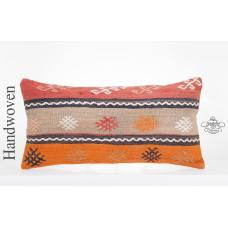"""Embroidered Cottage Chic Kilim Pillow 14x28"""" Sofa Couch Throw Turkish Cushion"""