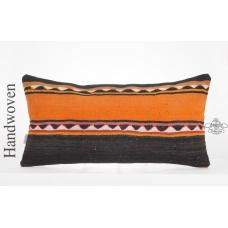 "Ethnic Handwoven Kilim Pillowcase 14x28"" Long Lumbar Anatolian Kelim Rug Cushion"