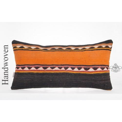 "Ethnic Handwoven Kilim Pillowcase 14x28"" Long Lumbar Anatolian Kelim Rug Cushion"