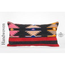"Geometric Decorative Oriental Kilim Pillow 14x28"" Turkish Cushion Rug Sofa Throw"
