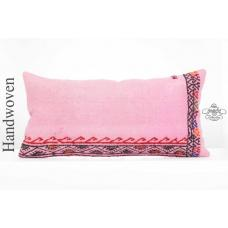 Pink Embroidered Long Pillow Sham 14x28 Anatolian Kilim Rug Lumbar Cushion Cover